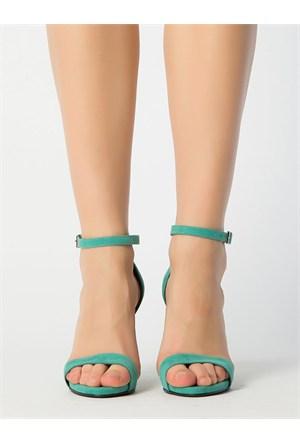 Mecrea Exclusive Katty Mint Yeşili Süet Topuklu Sandalet