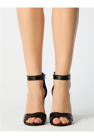 Mecrea Exclusive Selena Siyah Kalın Topuklu Sandalet