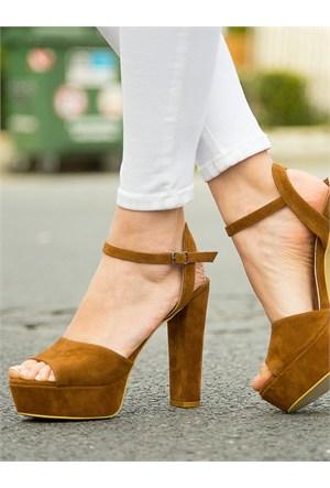 Mecrea Exclusive Gredi Taba Süet Platform Topuklu Sandalet