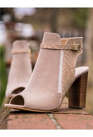 Mecrea Exclusive Alezna Bej Süet Yılan Kombin Açık Burun Topuklu Ayakkabı