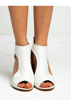 Mecrea Exclusive Ailis Beyaz Açık Burun Topuklu Ayakkabı