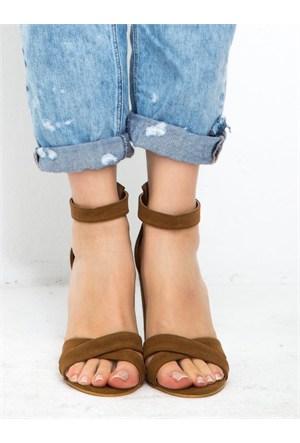 Mecrea Exclusive Selena Taba Süet Kalın Topuklu Sandalet