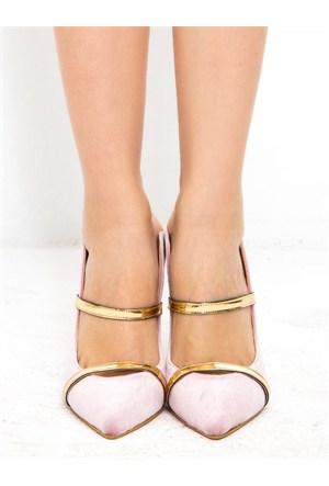 Mecrea Exclusive Prinz Pudra Kadife Altın Bantlı Stiletto
