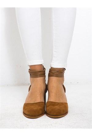 Mecrea Exclusive Rogers Taba Süet Bilekten Bantlı Topuklu Ayakkabı