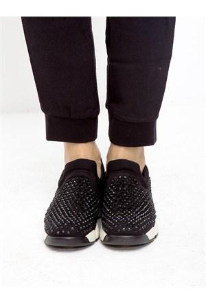 Mecrea Exclusive Campbell Siyah Taşlı Ayakkabı