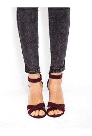 Mecrea Exclusive Selena Bordo Süet Topuklu Sandalet