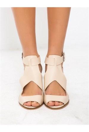 Mecrea Exclusive Reina Bej Açık Burun Topuklu Ayakkabı
