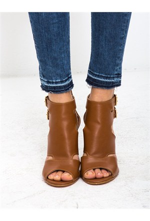 Mecrea Exclusive Sosa Taba Dekolte Açık Burun Topuklu Ayakkabı