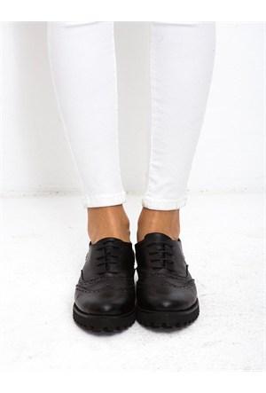 Mecrea Exclusive Jerry Siyah Kalın Taban Loafer Ayakkabı