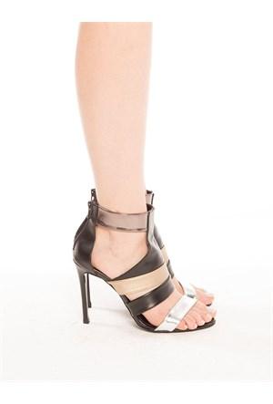 Mecrea Exclusive Kelvin Siyah Gümüş Bakır Açık Burun Topuklu Ayakkabı