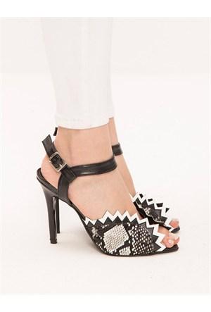 Mecrea Exclusive Wagner Siyah Beyaz Yılan Topuklu Ayakkabı