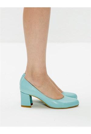 Mecrea Exclusive Tania Turkuaz Alçak Topuklu Ayakkabı