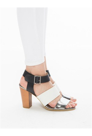 Mecrea Exclusive Aida Beyaz Gümüş Siyah Topuklu Sandalet