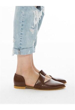 Mecrea Exclusive Gray Taba Dekolte Loafer Ayakkabı
