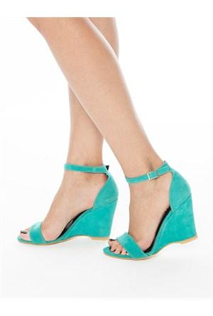 Mecrea Exclusive Athens Mint Yeşili Süet Dolgu Topuklu Sandalet