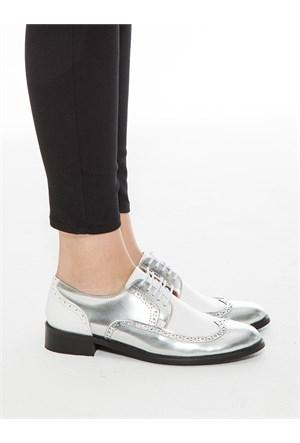 Mecrea Exclusive Jerry Gümüş Beyaz Kombin Loafer Ayakkabı