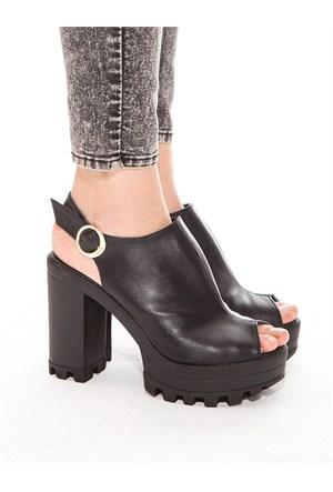 Mecrea Exclusive Roge Siyah Açık Burun Platform Topuklu Ayakkabı