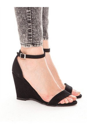Mecrea Exclusive Athens Siyah Süet Dolgu Topuk Sandalet