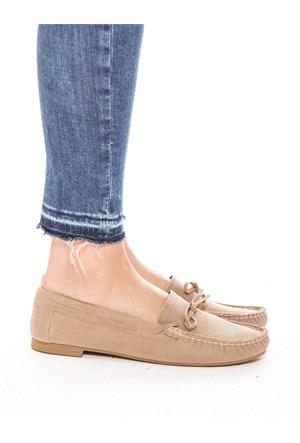 Mecrea Exclusive Rok Bej Süet Saraçlı Loafer Ayakkabı