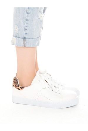 Mecrea Exclusive Gabby Beyaz Leopar Kombin Ayakkabı