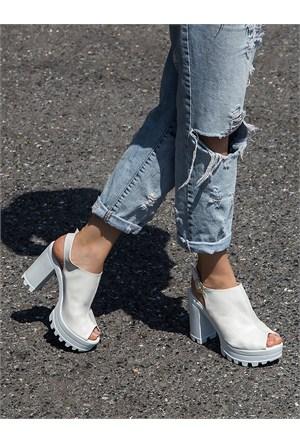 Mecrea Exclusive Roge Beyaz Açık Burun Platform Topuklu Ayakkabı