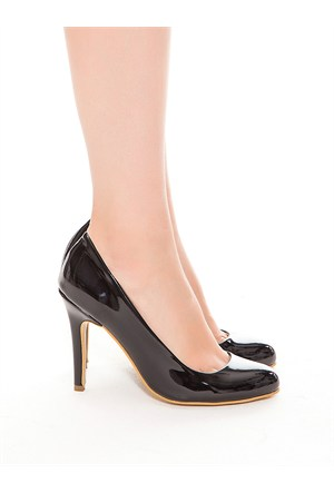 Mecrea Exclusive Jeremy Siyah Rugan Topuklu Ayakkabı