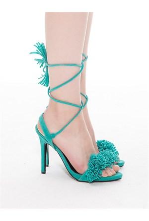Mecrea Exclusive Clorinda Mint Yeşil Süet Püskül Topuklu Sandalet