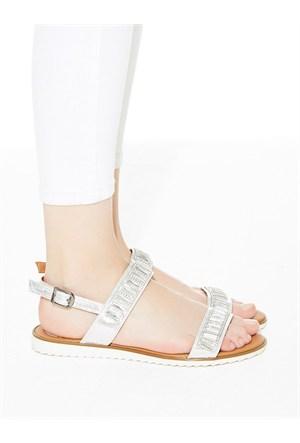 Mecrea Exclusive Vendula Gümüş Simli Taşlı Sandalet
