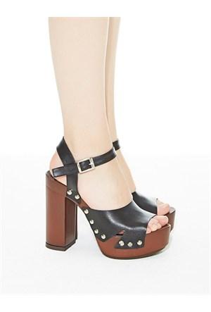 Mecrea Exclusive Garnet Siyah Takunya Platform Topuklu Ayakkabı