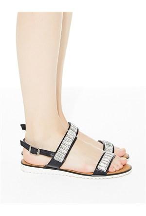 Mecrea Exclusive Vendula Siyah Simli Taşlı Sandalet