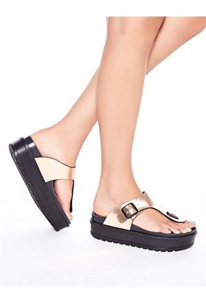 Mecrea Exclusive Jersey Bakır Kalın Taban Parmak Arası Sandalet