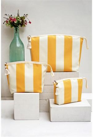 İkikız Sarı Çizgili Çanta Seti