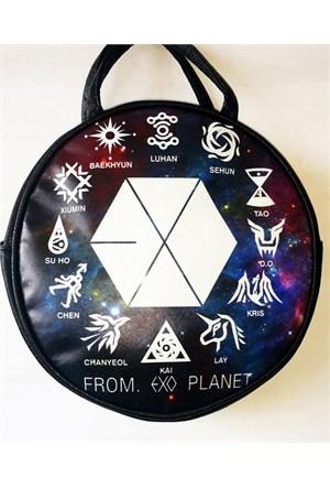 Köstebek From. Exo Planet Galaxy Postacı Yuvarlak Çanta Kypç015