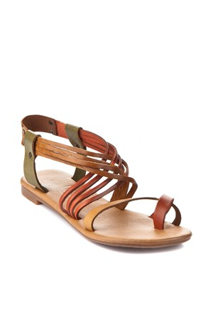 Gio&Mi Kahverengi - Yeşil Sandalet Tg-Cpr