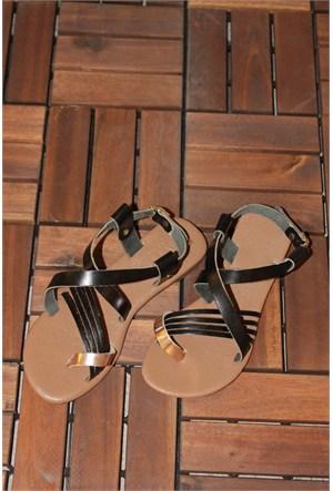 Gio&Mi Siyah - Sarı Sandalet V4