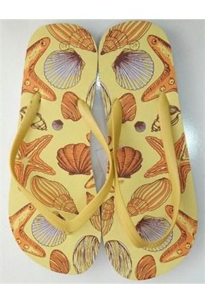 Hobi Store Bayan Sarı Desenli Parmak Arası Terlik
