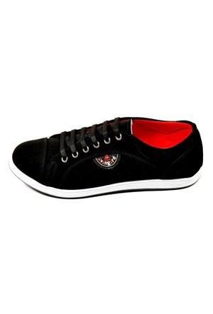 Avangard Bağcıklı Siyah Kırmızı Nubuk Ayakkabı