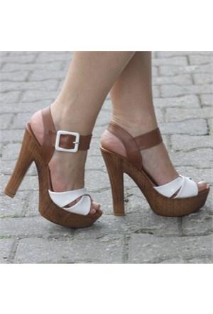 İnce Topuk Kadın Sandalet Beyaz