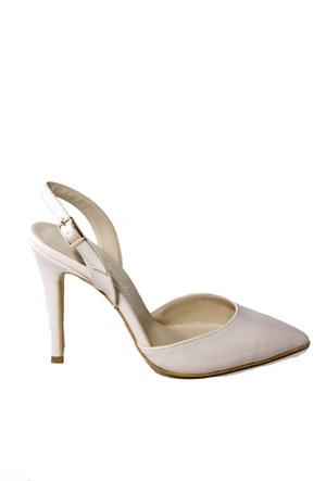İnce Topuk Kadın Topuklu Ayakkabı Pudra Rugan