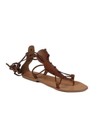 İnce Topuk Kadın Sandalet Taba