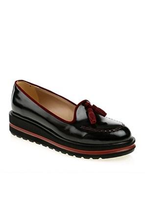 Derigo Kadın Günlük Ayakkabı Siyah Rugan