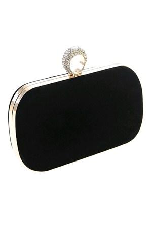 Derigo Kadın Portföy Çanta Siyah Kadife