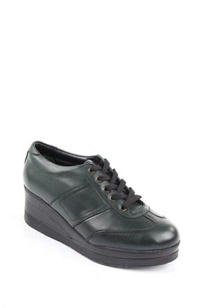 Gön Haki Antik Deri Kadın Ayakkabı 21011