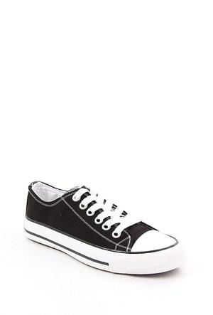 Gön Siyah Keten Trend Kadın Ayakkabı 35992