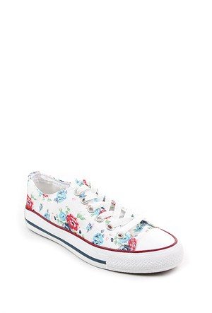Gön Mavi Çiçekli Keten Trend Kadın Ayakkabı 35992