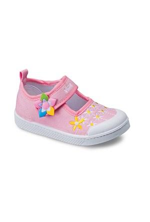 Vicco Cırtlı Çiçekli Kız Keten Ayakkabı Pembe