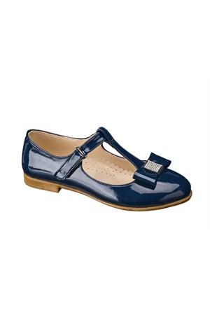 Vicco Cırtlı Fiyonklu Genç Babet Ayakkabı Lacivert 34