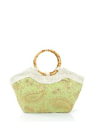 Plaj Bags 1002-6 Yeşil-Krem Plaj Çantası