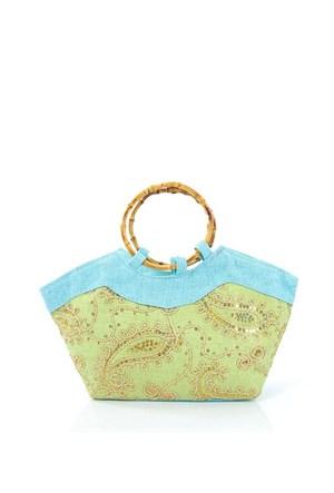 Plaj Bags 1002-1 Yeşil-K.Mavi Plaj Çantası