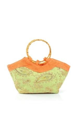 Plaj Bags 1002-3 Yeşil-Turuncu Plaj Çantası